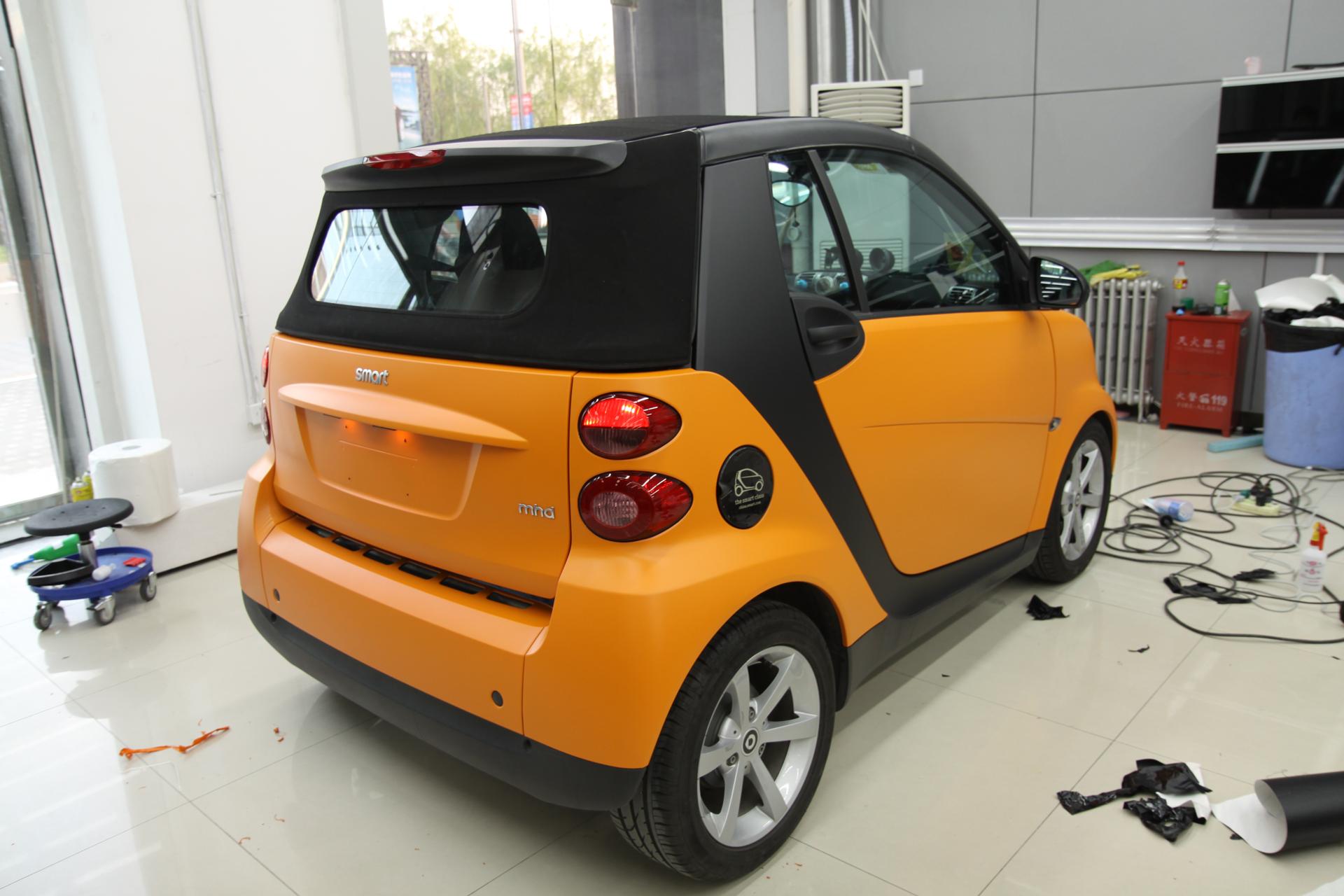 smart改装全车亚光橙贴膜
