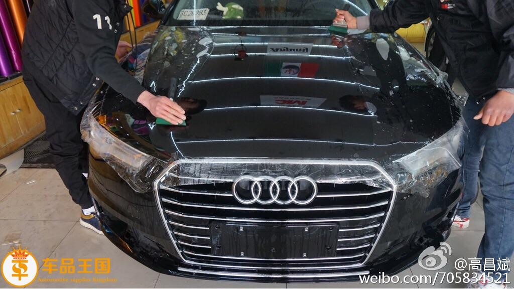 奥迪A6L全车透明铠甲上身。亮度已经可以达到 反光的效果了!