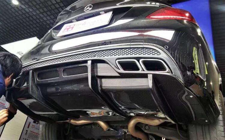 奔驰c级w205 c63 amg改装psm碳纤维后唇