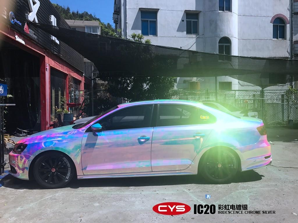 成都大众速腾彩虹电镀银车身改色贴膜