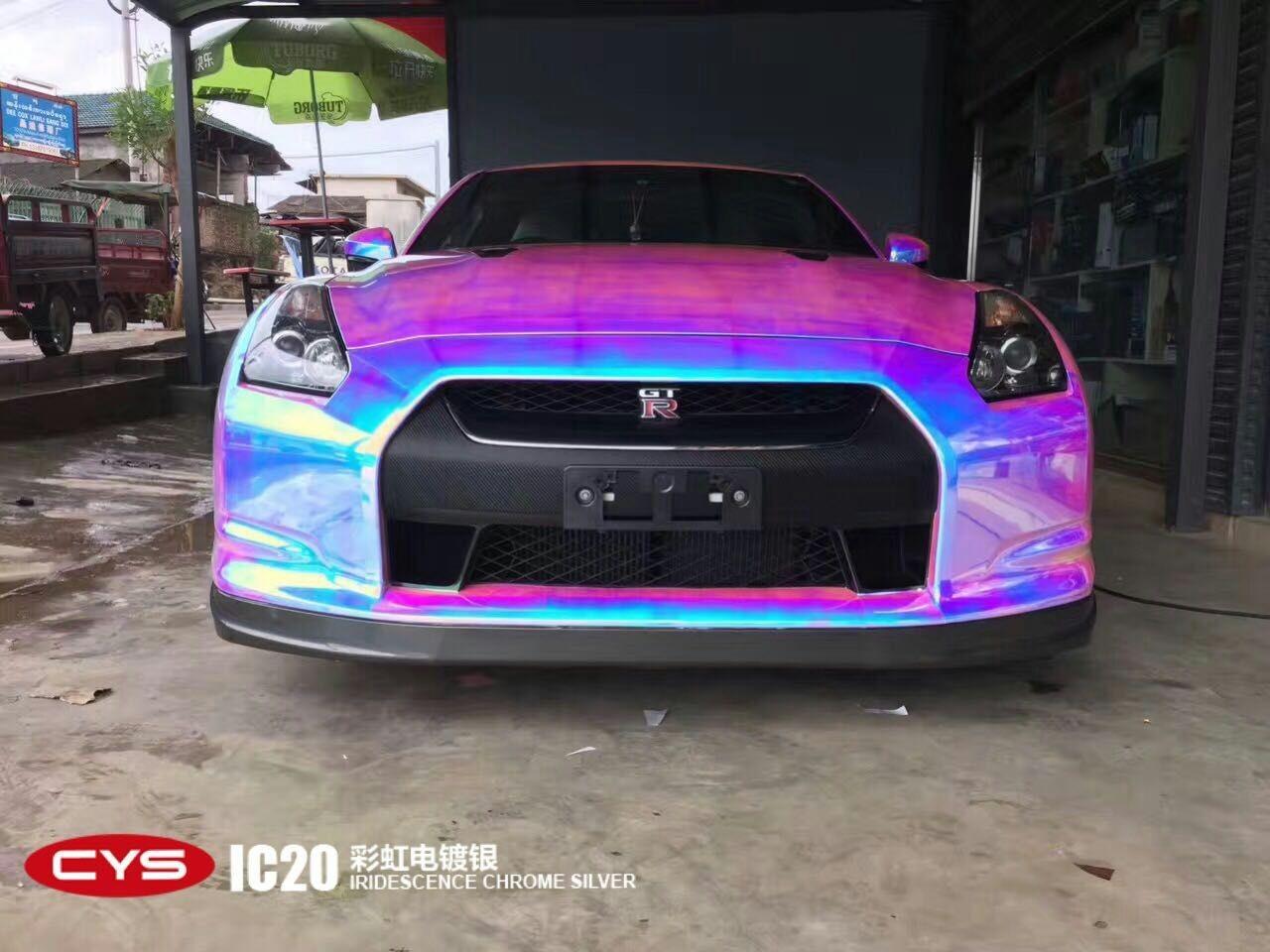 四川CYS 日产GTR彩虹电镀银汽车改色