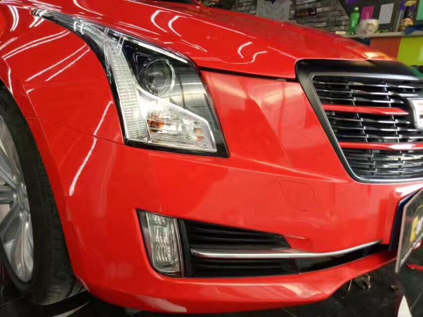 凯迪拉克ATS整车改色贴膜超亮水晶法拉利红
