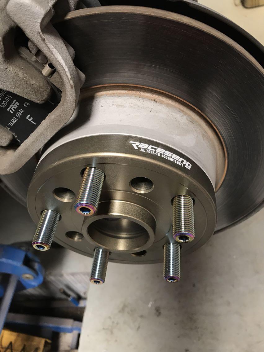 大众高尔夫7改装raceseng瑞森钛合金反串螺丝➕7075锻造轮距加宽法兰盘垫片