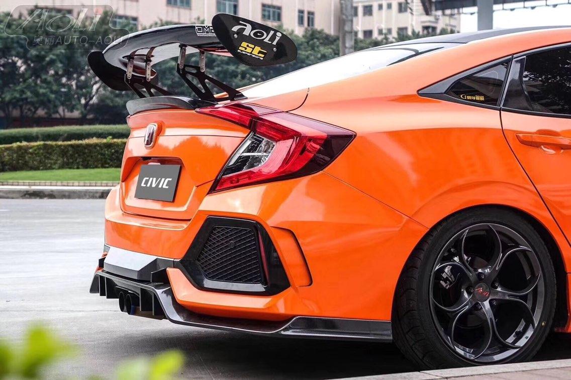 十代思域升级TypeR 前杠+中网+侧裙+后杠+排气+尾翼 全套包围,PP注塑材质原车位置