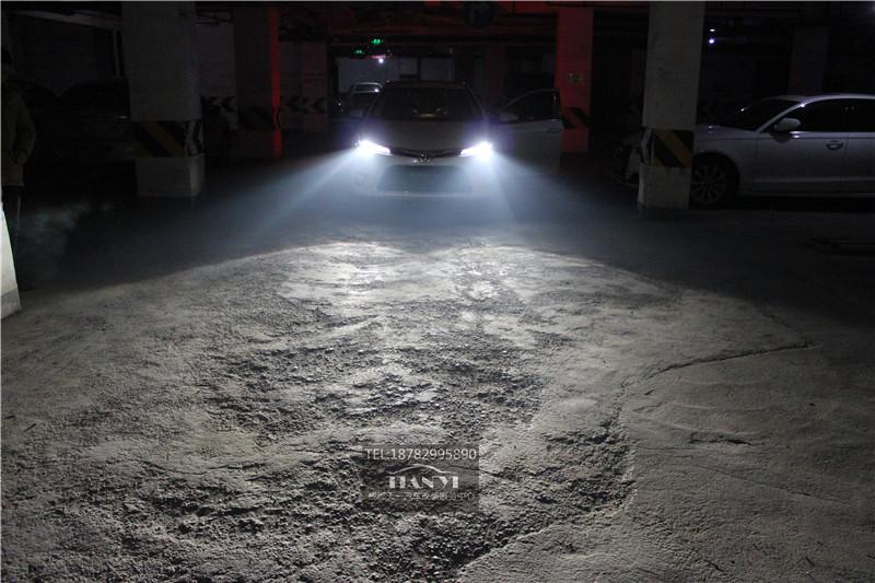 成都新雷凌改车灯改装米石LED大灯透镜