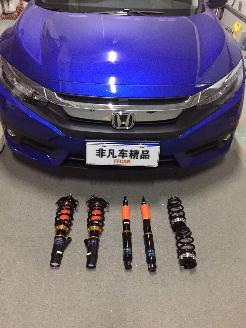 十代思域 更换18寸轮毂轮胎 台湾SF 黄金版避震器 低趴姿态操控升级