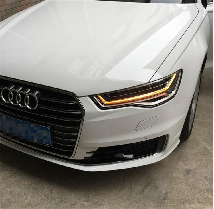 深圳新款奥迪A6升级原厂Y字形LED大灯、