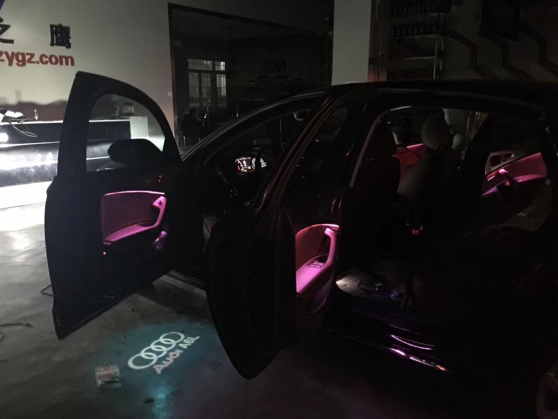 昆明奥迪A6改装八色氛围灯,升降高音头