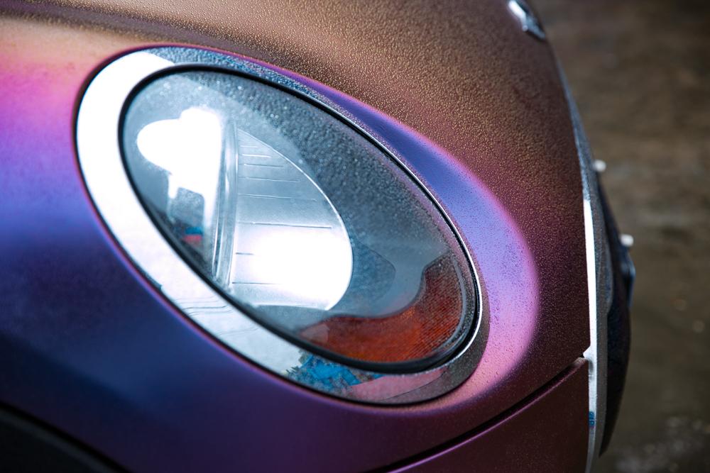 宝马mini贴妆哑光幻彩紫莓蓝车身色膜