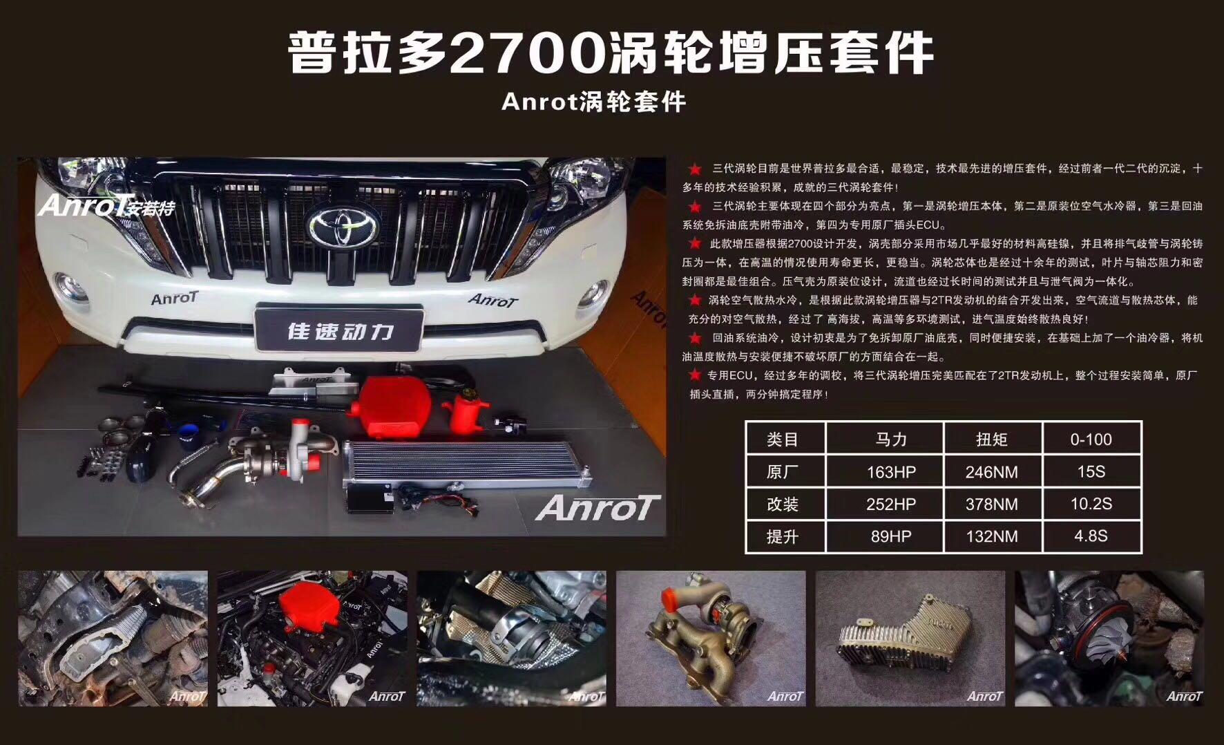普拉多2700必备神器首选ANROT涡轮增压