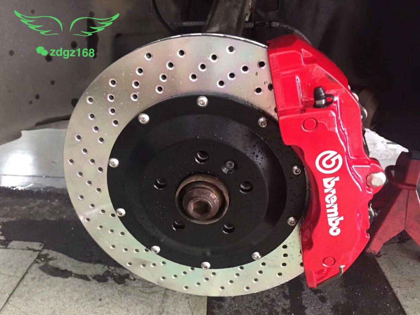 奥迪Q5刹车改装升级意大利brembo 6活塞刹车套装[色][色][色],效果好完美安装!