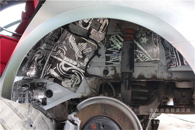 武汉奥迪A4底盘翼子板隔音改装案例
