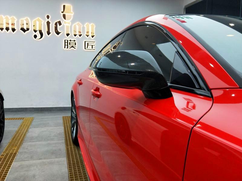 奥迪A7改色法拉利红改装CGW双阀排气