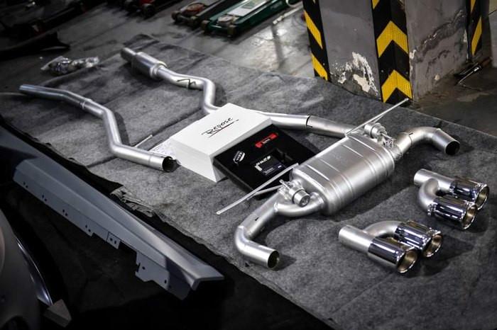 宝马3系改装项目: M3包围 , Repose四出中尾段阀门排气,进口艾利水泥灰改色膜 ,原厂405M锻造轮毂 