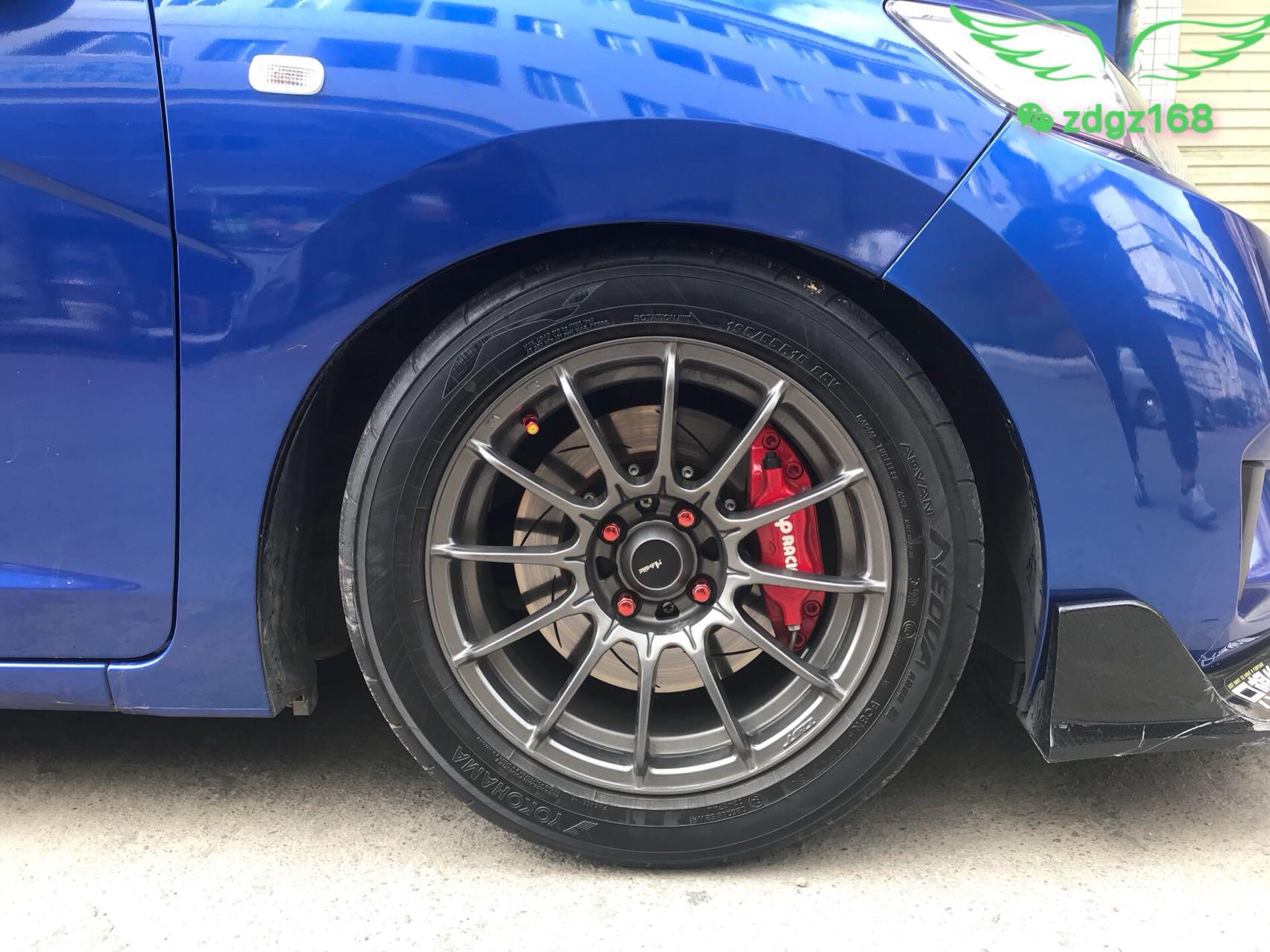 【刹车改装】飞度 15寸刹车升级前轮Ap7600小四活塞,完美安装