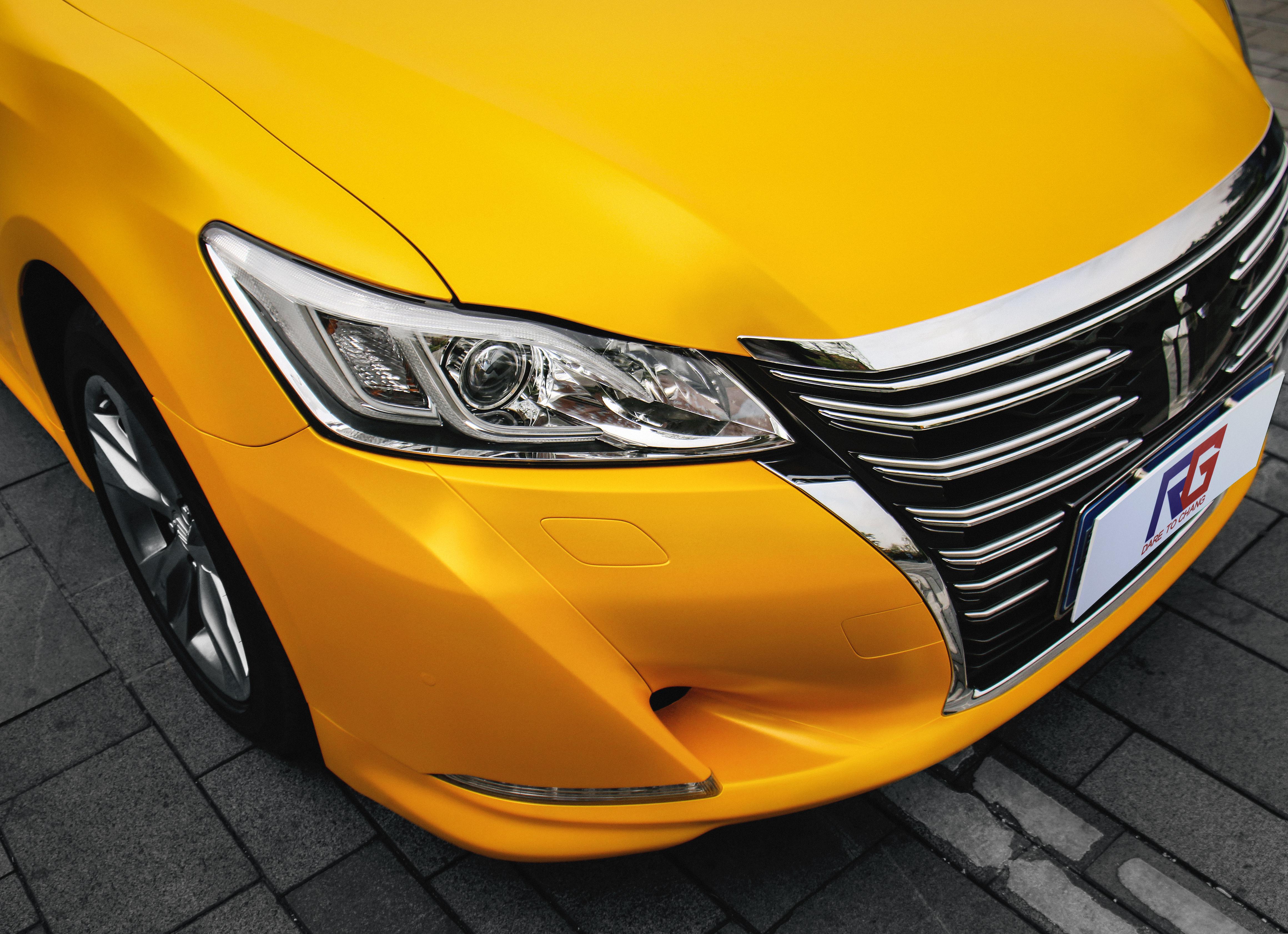 丰田皇冠车身改色黄魅金案例