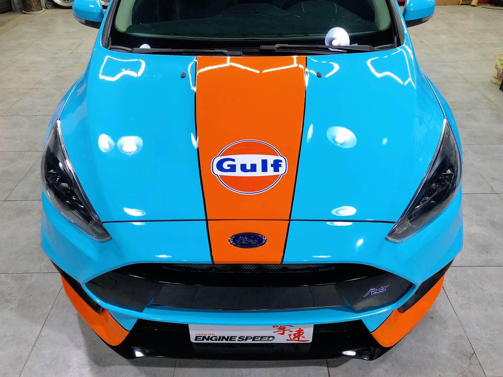 西安擎速,福克斯改装福克斯RS套件。改色贴膜经典海湾(GULF)涂装