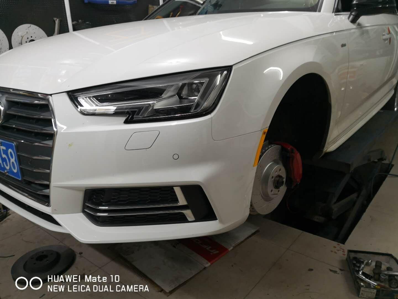 奥迪A4L刹车升级ECFRONT打孔划线盘