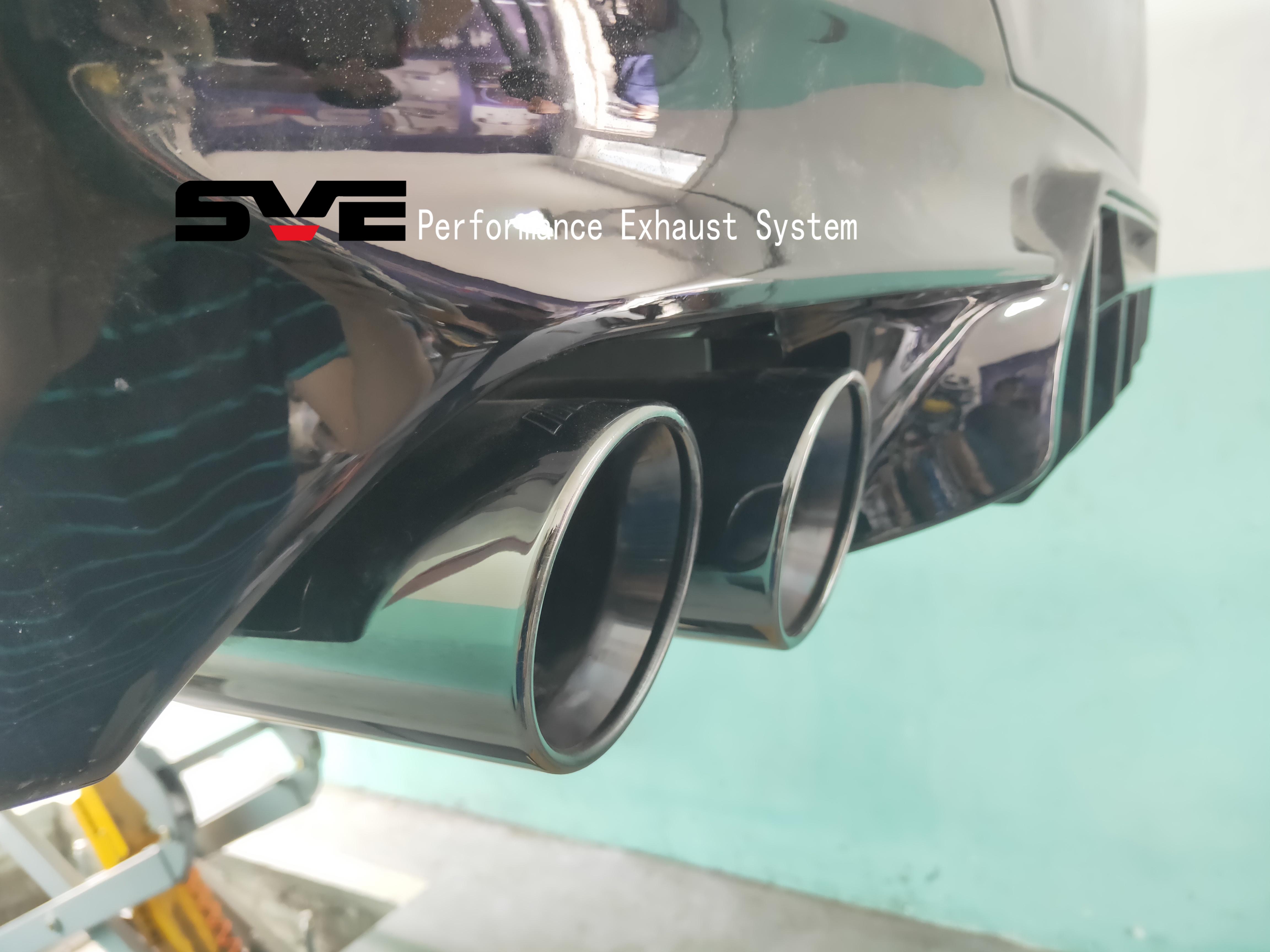 新款宝马5系改装钛黑四出尾喉,带M标