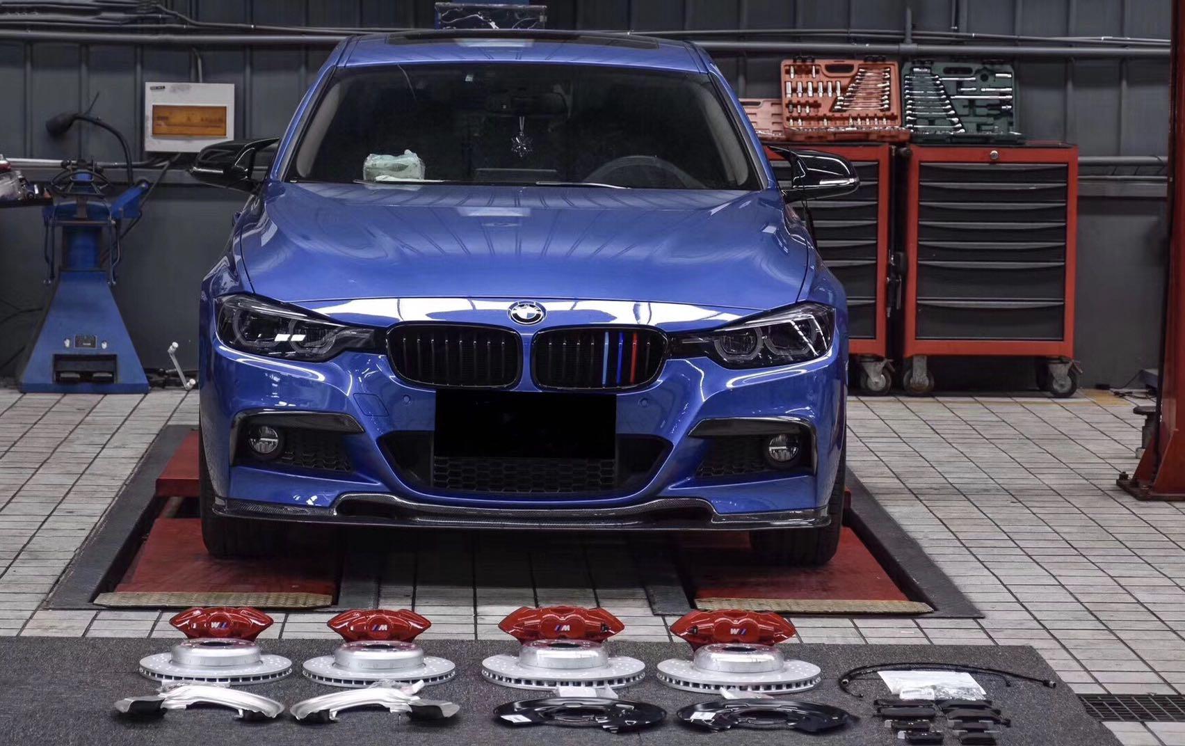 宝马3系刹车升级原厂Mp前四后二套件,适合宝马1/2/3/4系车型原位安装。