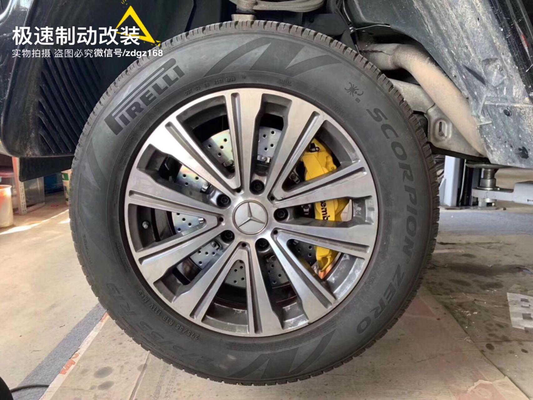 新款奔驰G500刹车改装Brembo GT前六后四 + 电子手刹卡钳原装19寸安装 方案成熟稳定