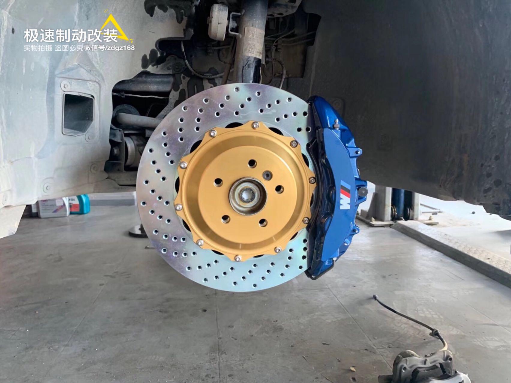 【深圳刹车改装】宝马X3刹车升级Brembo大六刹车卡钳搭配380MM打孔盘,完美安装!
