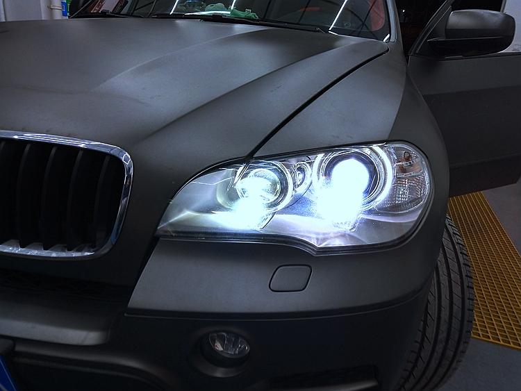 宝马X5大灯改装4透镜LED激光大灯