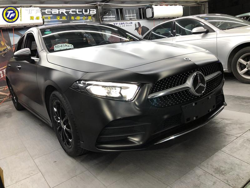 奔驰A200L改色贴膜电光金属黑