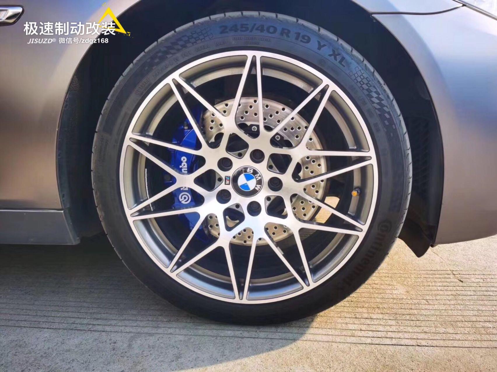 宝马5系升级布雷博通用款前六后四后轮双卡钳安装(定制蓝色)