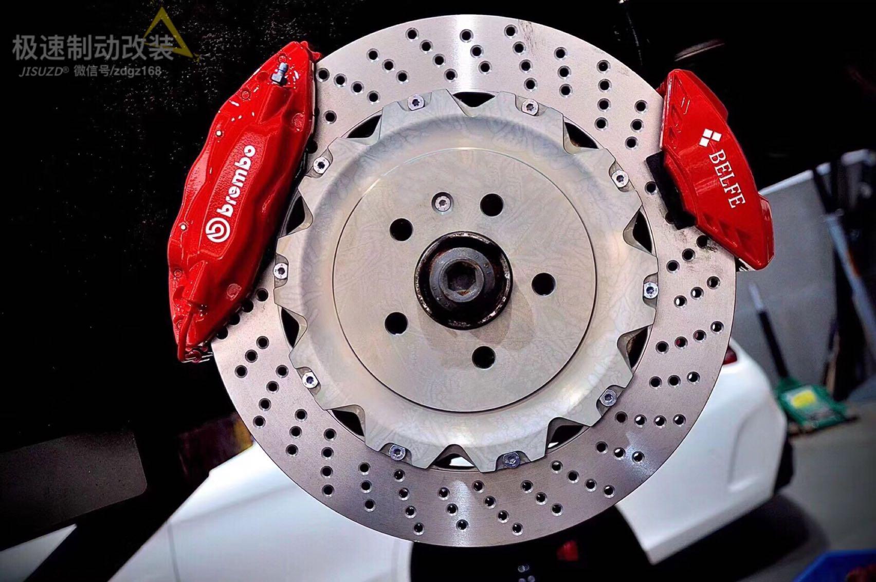 保时捷macan 刹车升级Brembo前六后四套装➕后轮电子卡钳(双卡钳),方案成熟。