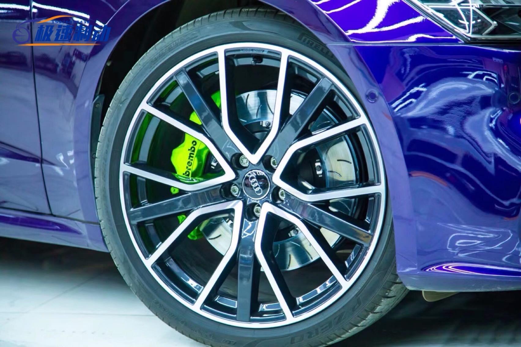 奥迪A7  刹车升级前轮BREMBO GT6订制荧光绿刹车套装!