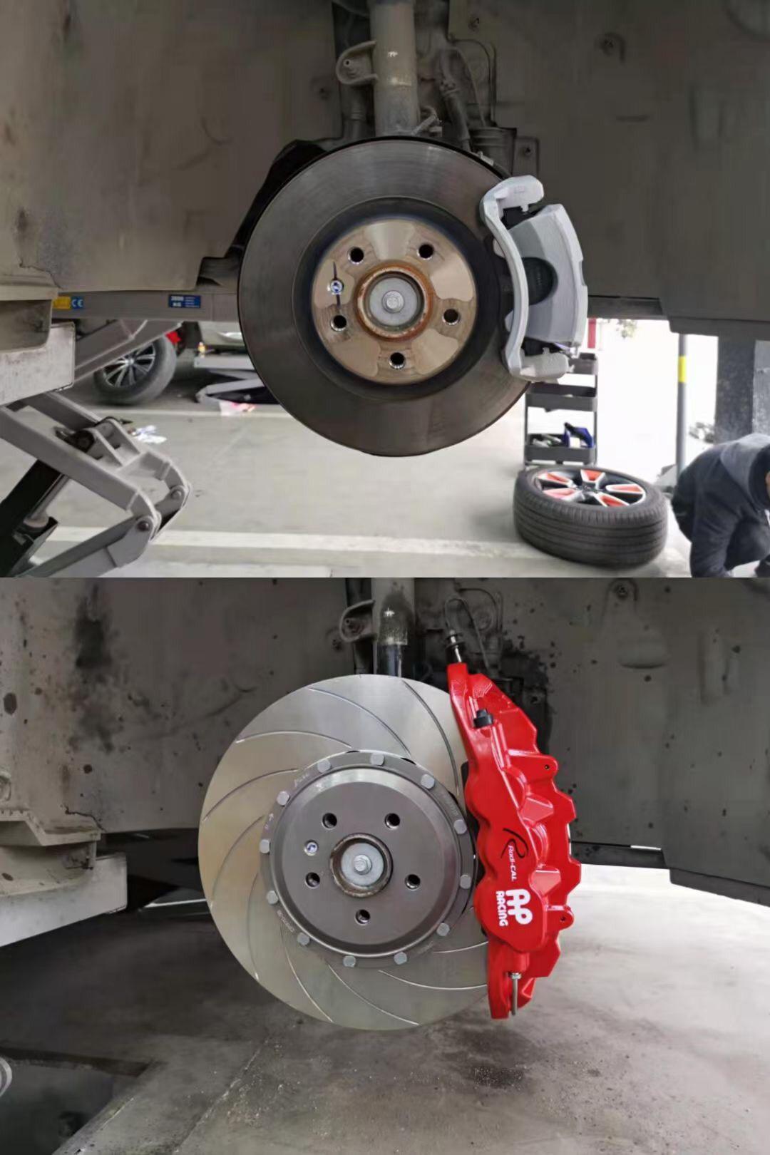 领克01 刹车升级AP8521六活塞搭配370划线盘 ,完美安装