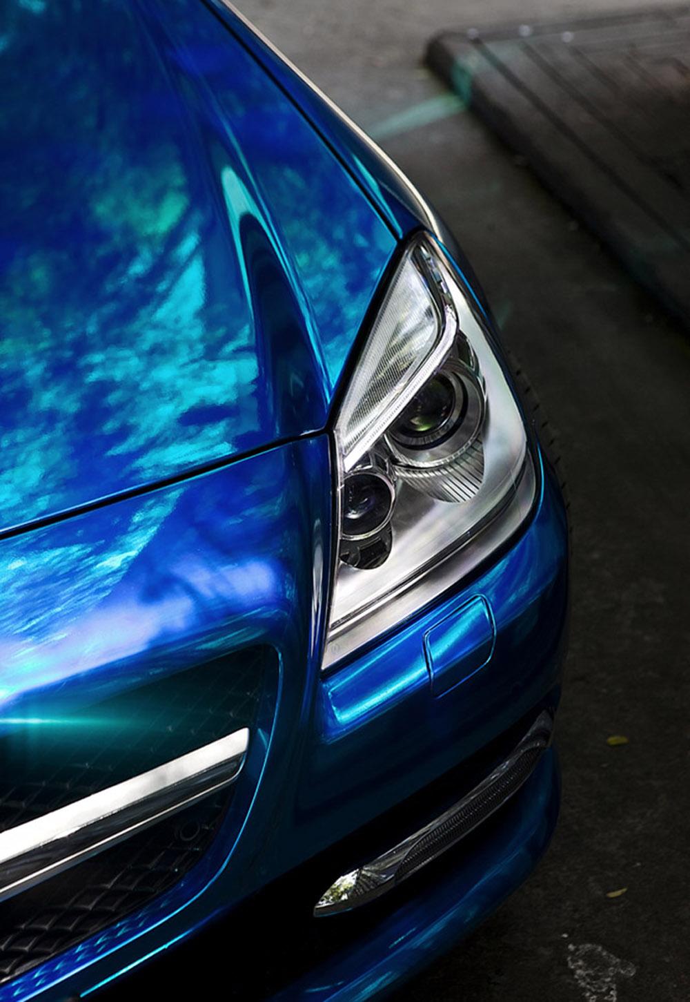奔驰slk改装电镀蓝贴膜高清图片