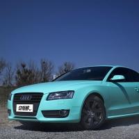 奥迪A5改装全车亮光Tiffany蓝