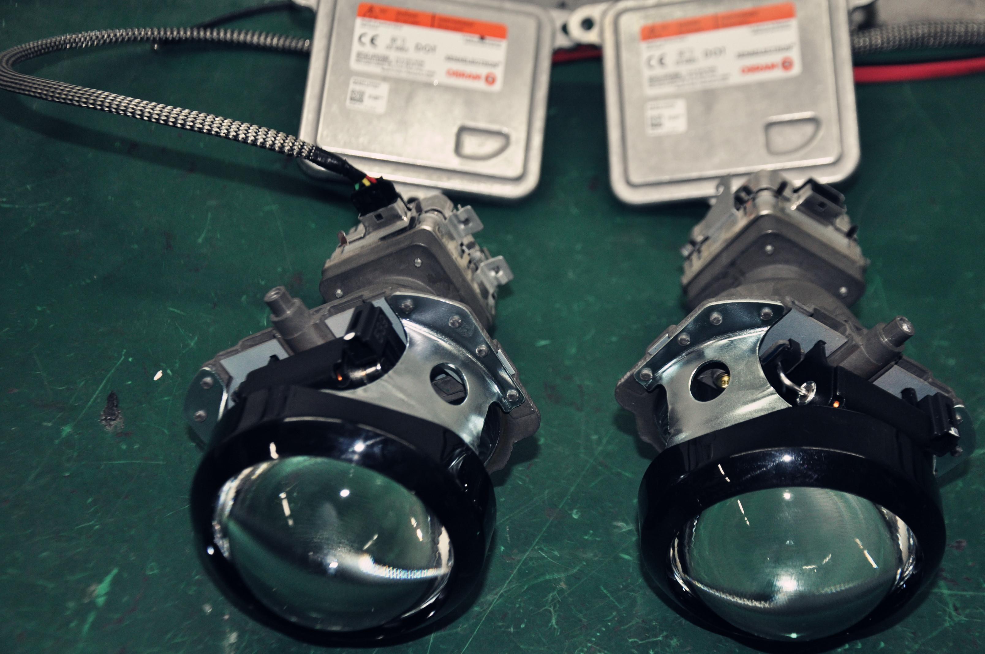 原大灯内部结构 mg5车灯改装双光透镜氙气大灯黄金光