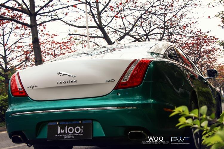 捷豹XJL改色贴膜高光金属墨绿 意大利白高清图片