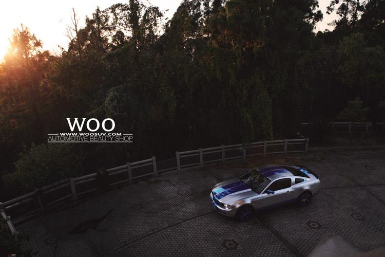 福特野马GT500改色贴膜亚光电镀银 电镀蓝高清图片