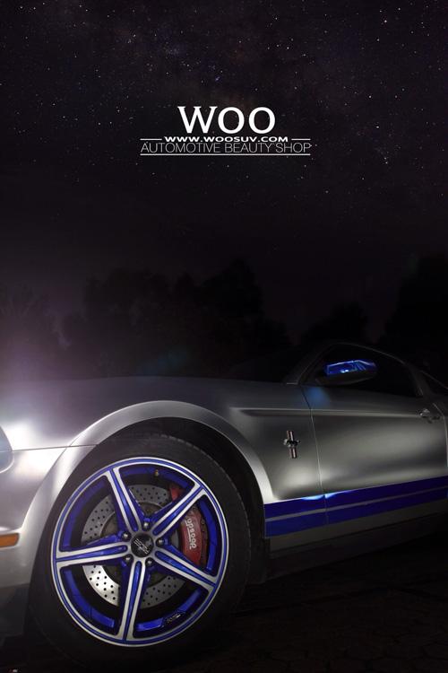 福特野马GT500改色贴膜亚光电镀银 电镀蓝