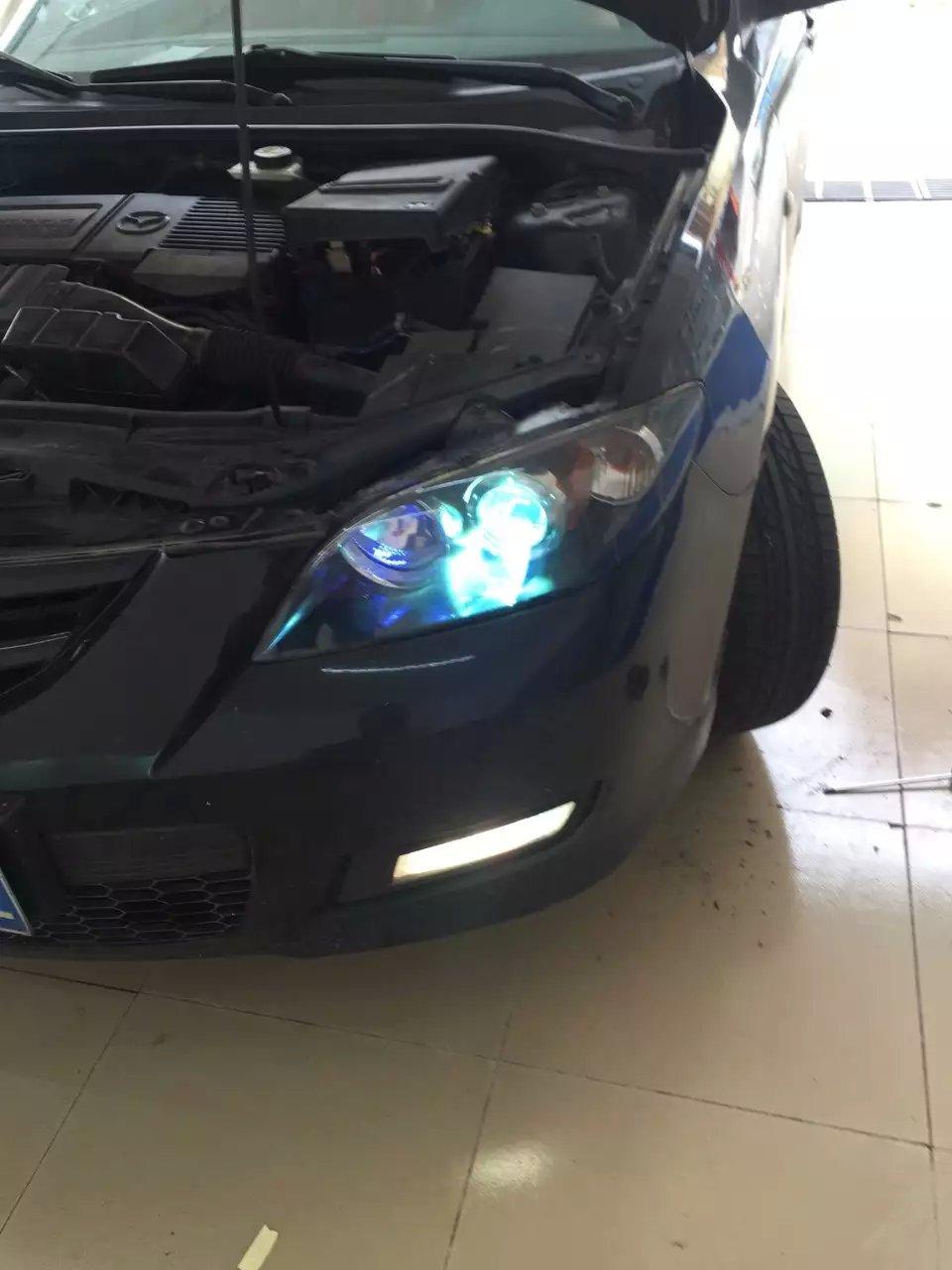 马自达大灯改装升级双光透镜氙气灯功能高清图片