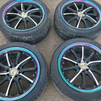 17寸改装小轮毂,成色如图,二手物品多少有点剐蹭,轮胎南港孔距4.100和4.114.3,标的价格是四个的价钱